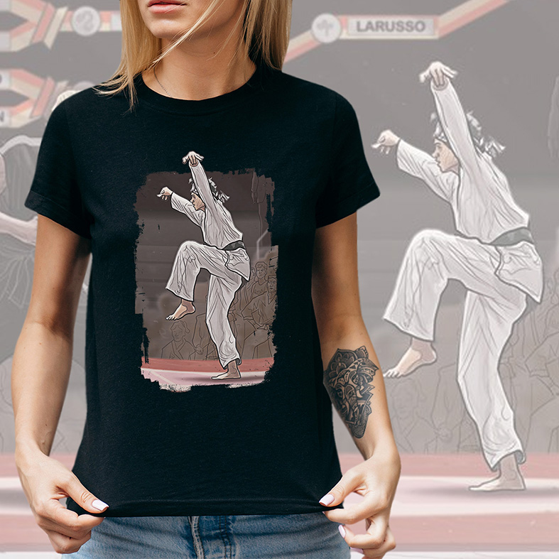 Camiseta Feminina Unissex The Karate Kid Final Fight Daniel Larusso Miyagi Do (Preta) - EV