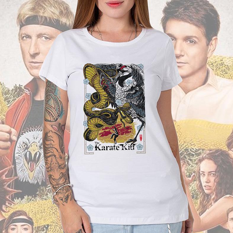 Camiseta Feminina Unissex The Karate Kid Poster Cobra Kai Miyagi Do Daniel Larusso (Branca) - EV
