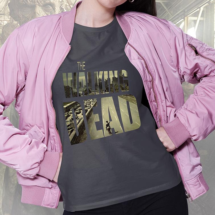 Camiseta Feminina Unissex The Walking Dead (Cinza Chumbo) - EV