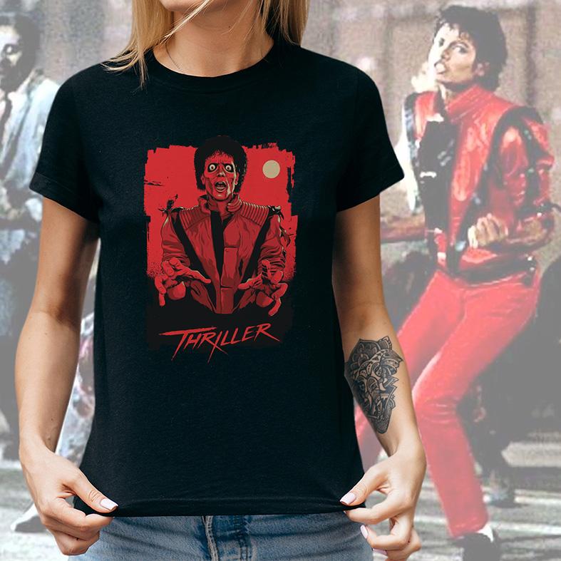 Camiseta Feminina Unissex Thriller Poster Michael Jackson (Preta) - EV
