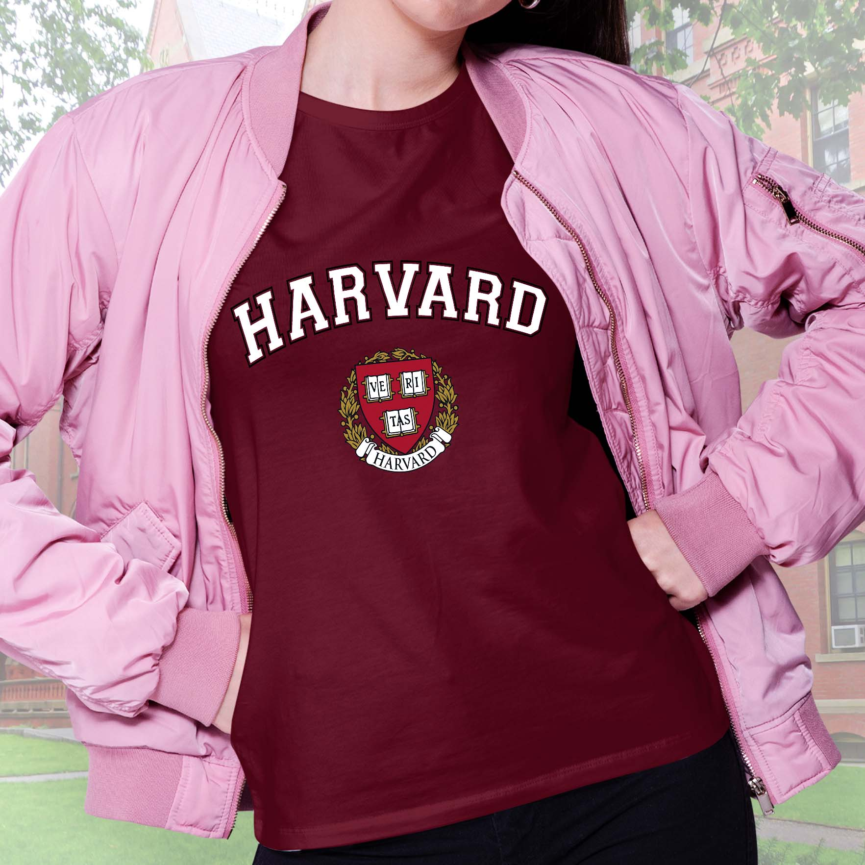 Camiseta Feminina Unissex Universidade Harvard Cambridge Massachusetts Estados Unidos Veritas University (Bordô) - EV