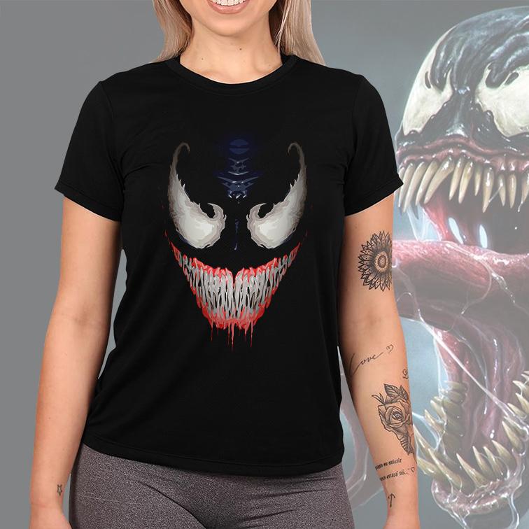 Camiseta Feminina Unissex Venom Marvel Comics (Preta) - EV