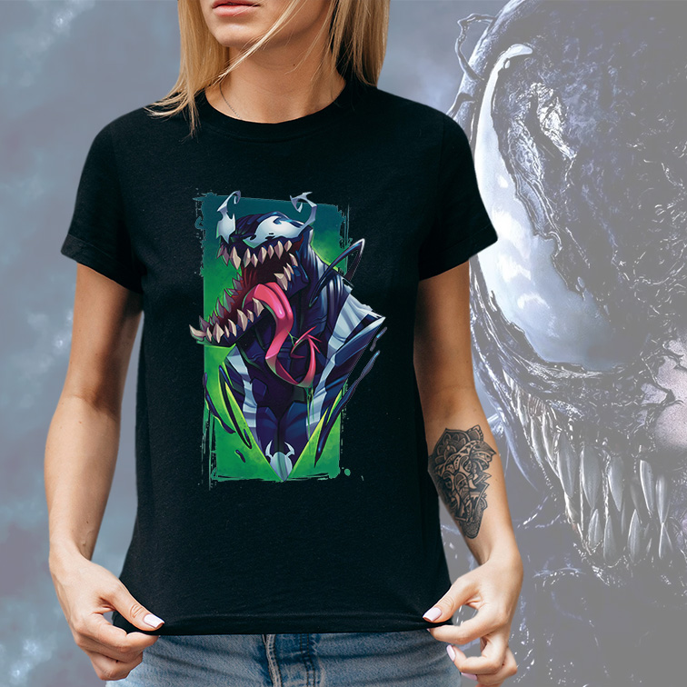 Camiseta Feminina Unissex Venom Spider-Man Demônio Quadrinhos: Marvel (Preta) - EV