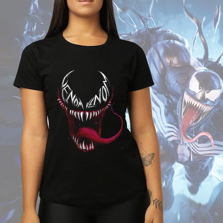 Camiseta Feminina Unissex Venon Carnificina Marvel Comics (Preta) - EV