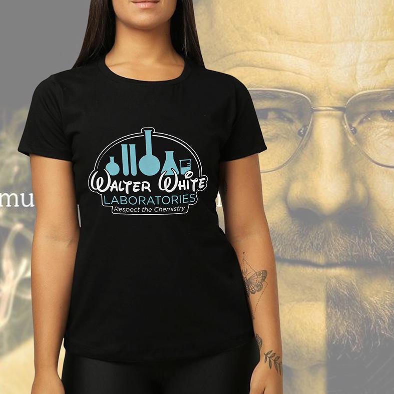 Camiseta Feminina Unissex Walter White Laboratories Respect The Chemistry Breaking Bad (Preta) - EV