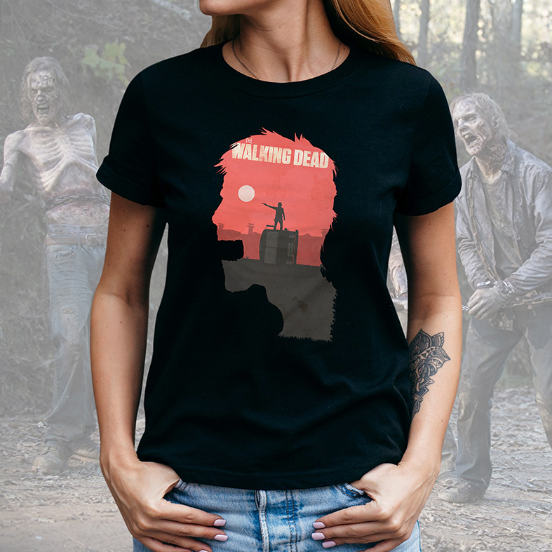 Camiseta Feminina Unissex Zombie Poster: The Walking Dead (Preta) - EV