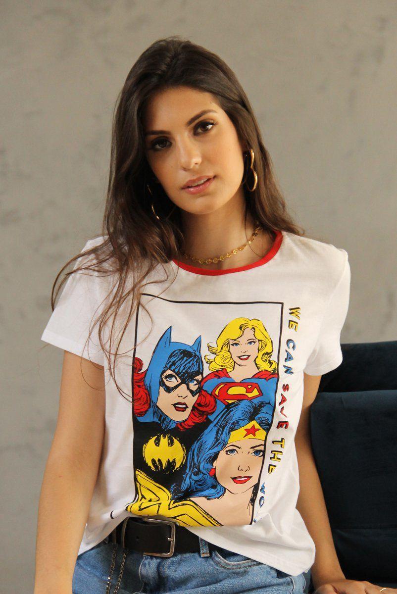 Camiseta Ringer Feminina Wonder Woman We Can Save the World: DC Comics - BandUp!