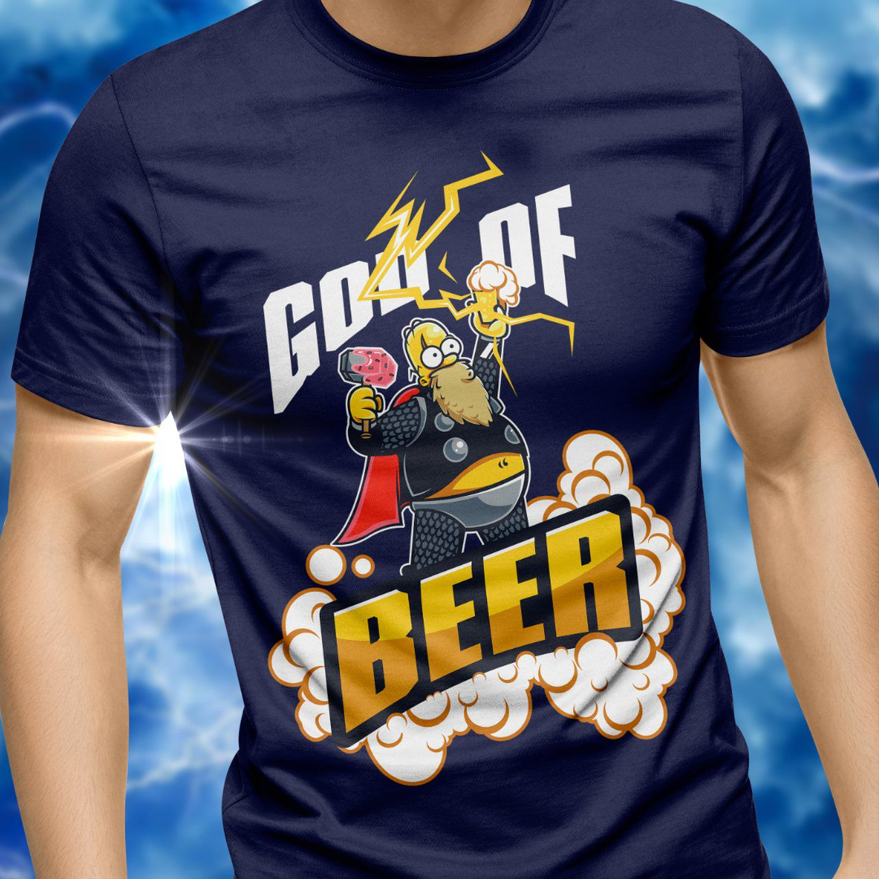 Camiseta God of Beer: Homer Simpson (Os Simpsons)  - Exclusiva ToyShow