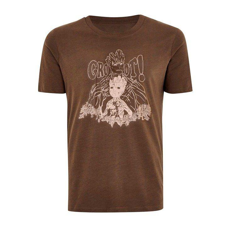 Camiseta Groot & Baby Groot: Guardiões da Galáxia Vol. II (Marrom)