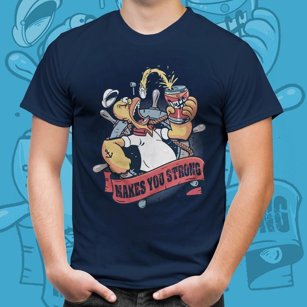 Camiseta Homer Popeye Makes You Strong: Os Simpsons Azul Tamanho: P