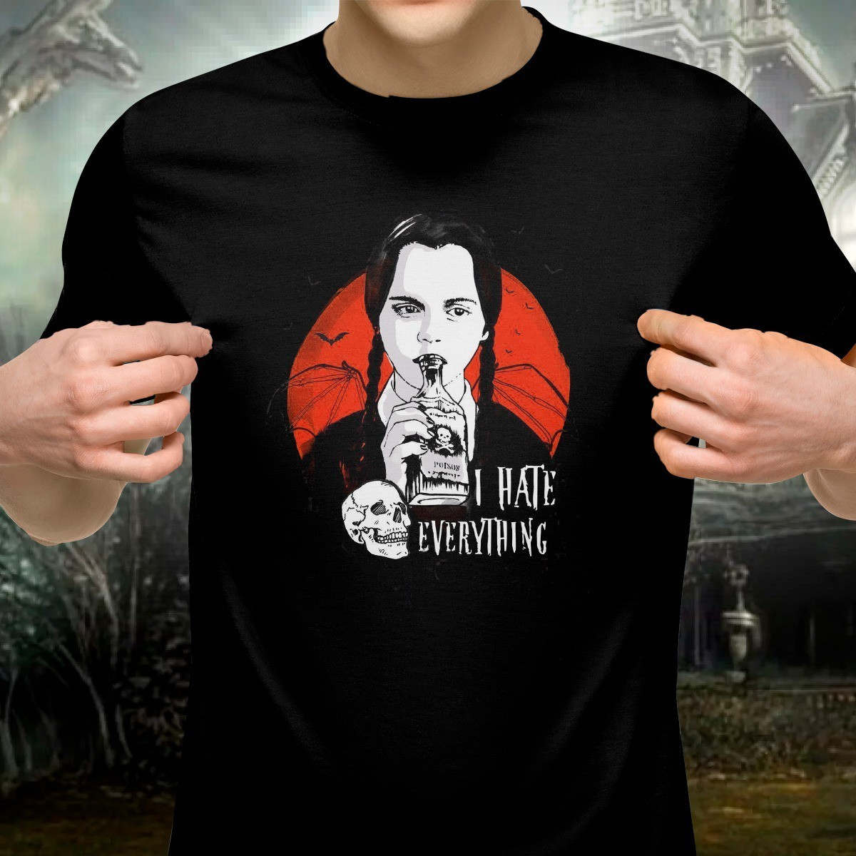 Camiseta: '' I Hate Everything '' ( A Família Addams )