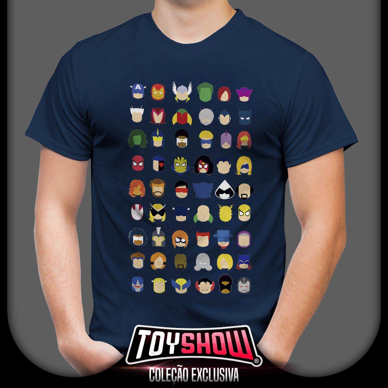 Camiseta Unissex Ícones Personagens Marvel - Exclusiva Toyshow (Azul)
