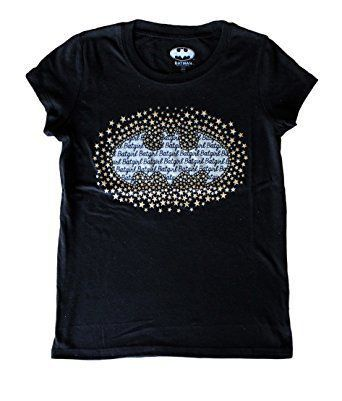 Camiseta Infantil Símbolo Batgirl com Estrelas: DC Comics Preta