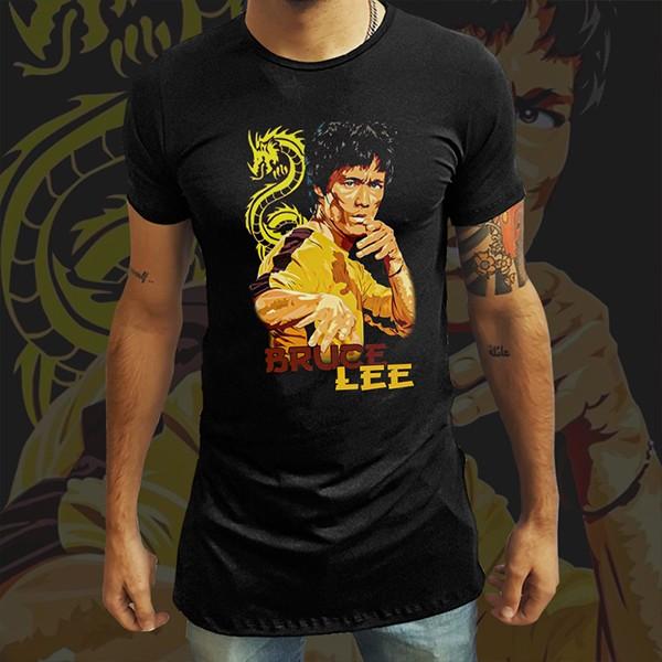 Camiseta Long Line A Lenda de Bruce Lee: