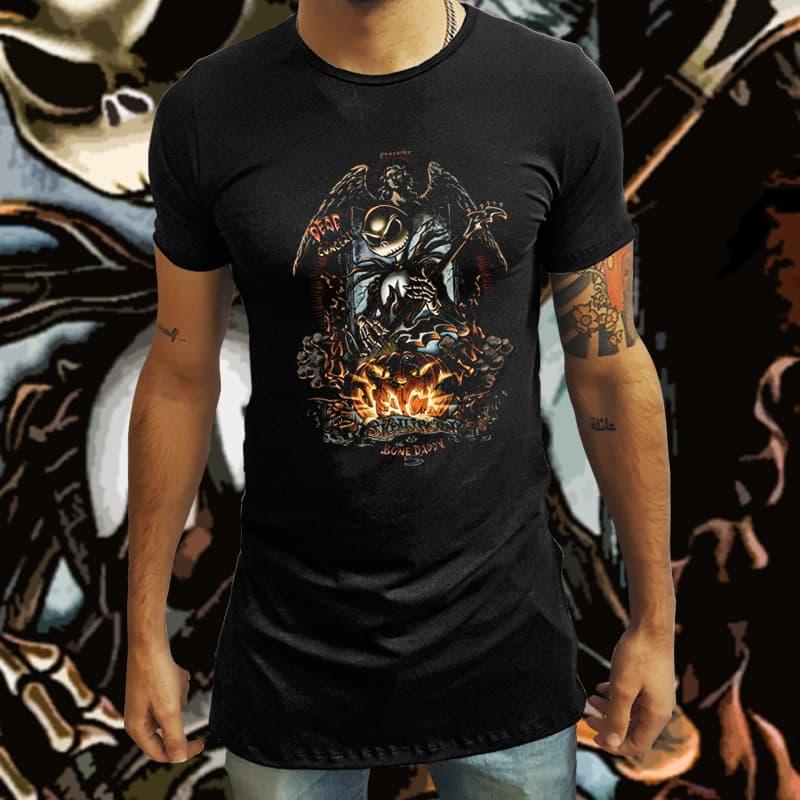 Camiseta Long Line Jack O Rei do Rock: O Estranho Mundo de Jack (Preto) - EV