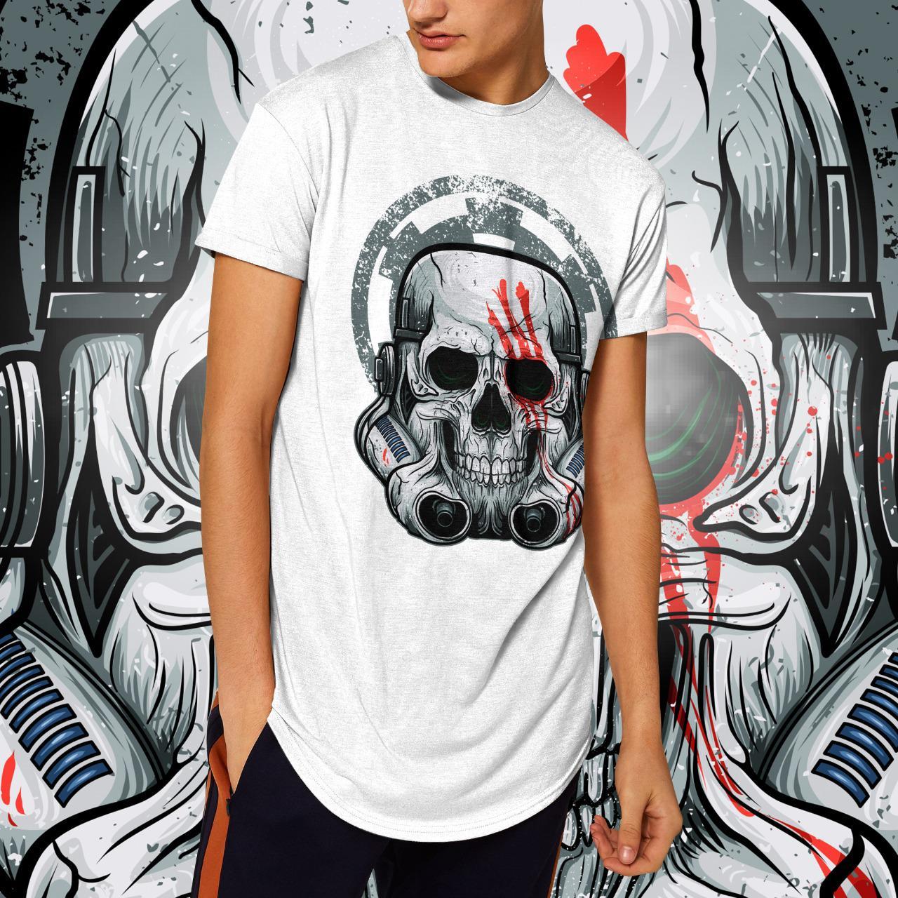 "Camiseta Long Line Masculina ""Caveira"": Stormtrooper (Branca)"