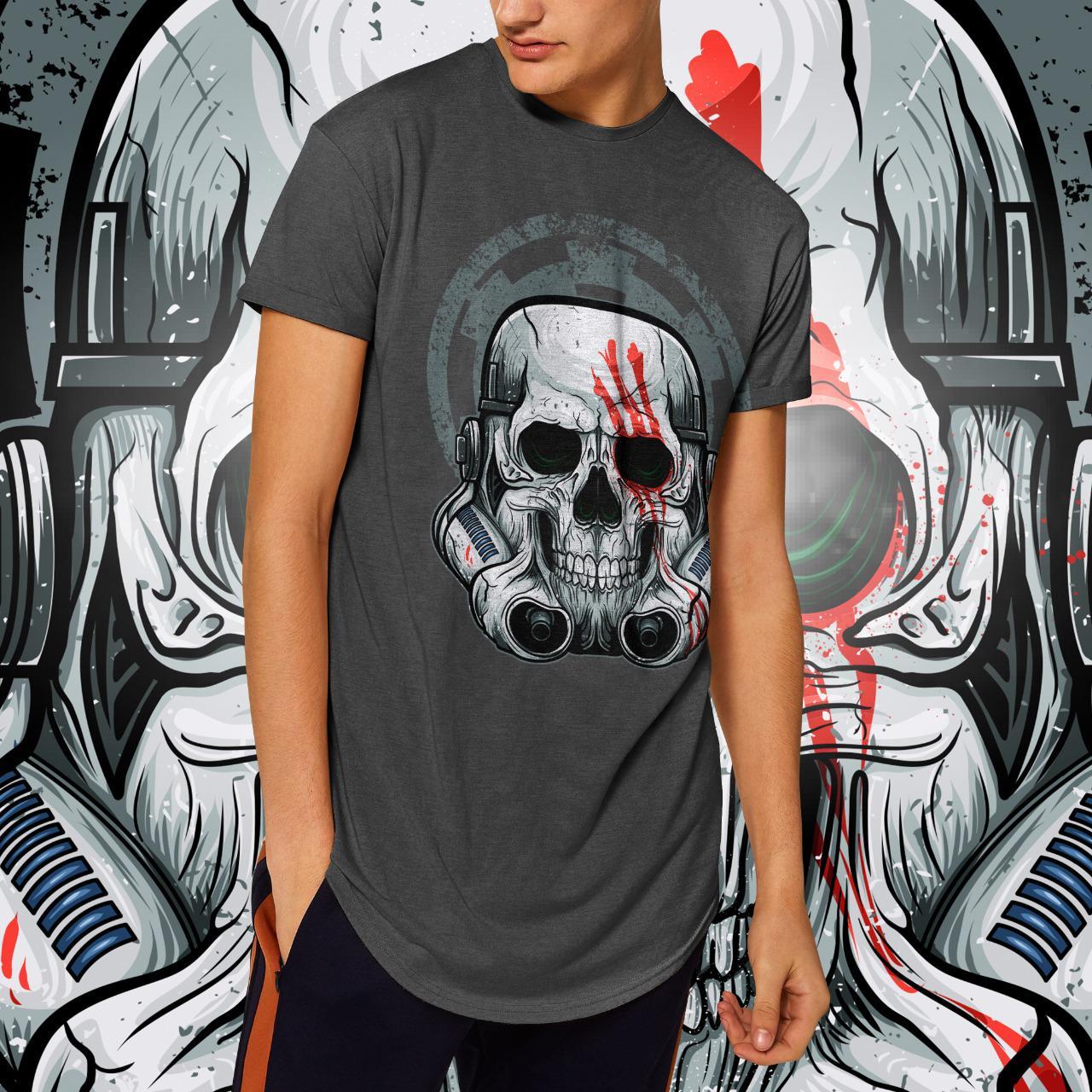 "Camiseta Long Line Masculina ""Caveira"": Stormtrooper (Chumbo Mescla)"