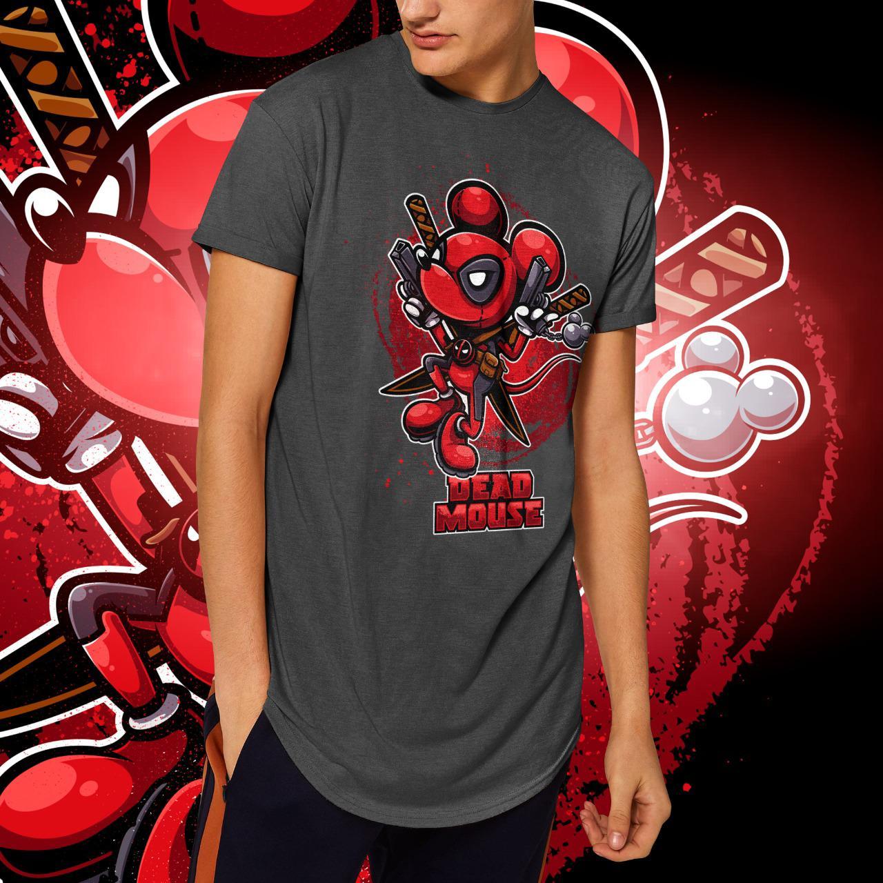 """Camiseta Long Line Masculina """"Dead Mouse"""" (Chumbo Mescla)"""
