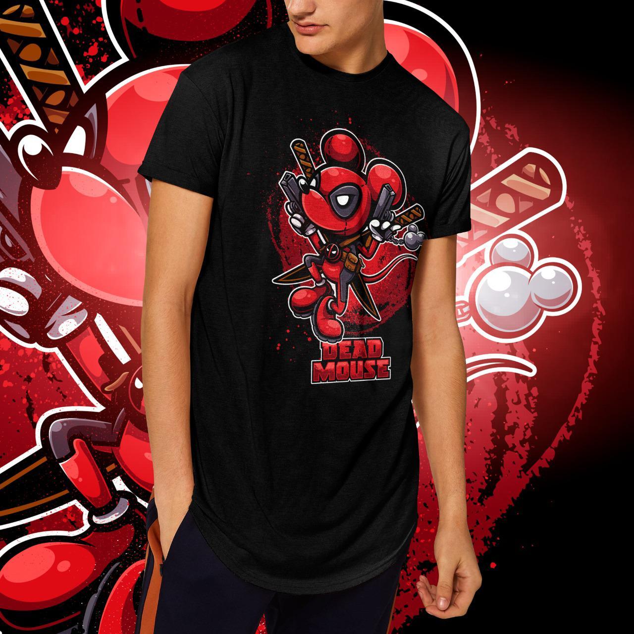 "Camiseta Long Line Masculina ""Dead Mouse"" (Preta)"