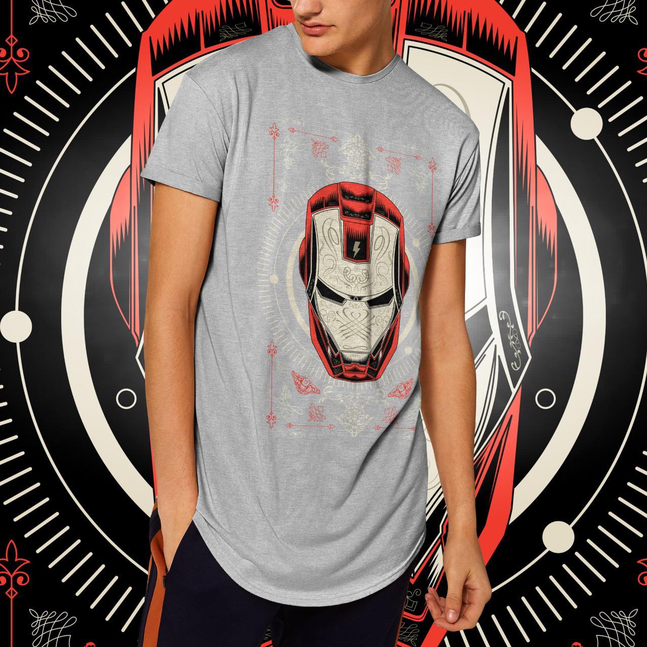 "Camiseta Long Line Masculina ""Iron Man"": Homem de Ferro  (Cinza Mescla)"