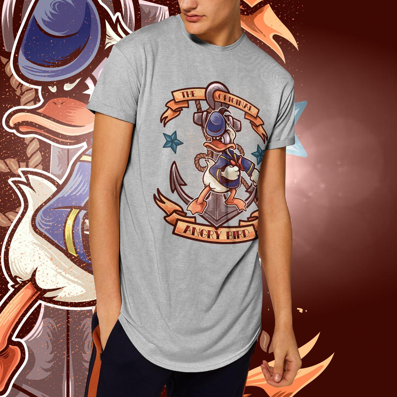 "Camiseta Long Line Masculina  ""The Original Angry Bird"": Pato Donald  (Cinza Mescla)"
