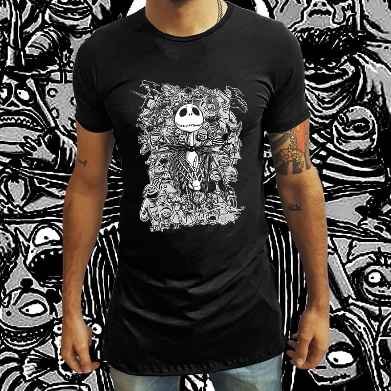 Camiseta Long Line O Estranho Mundo de Jack (Preto) - EV