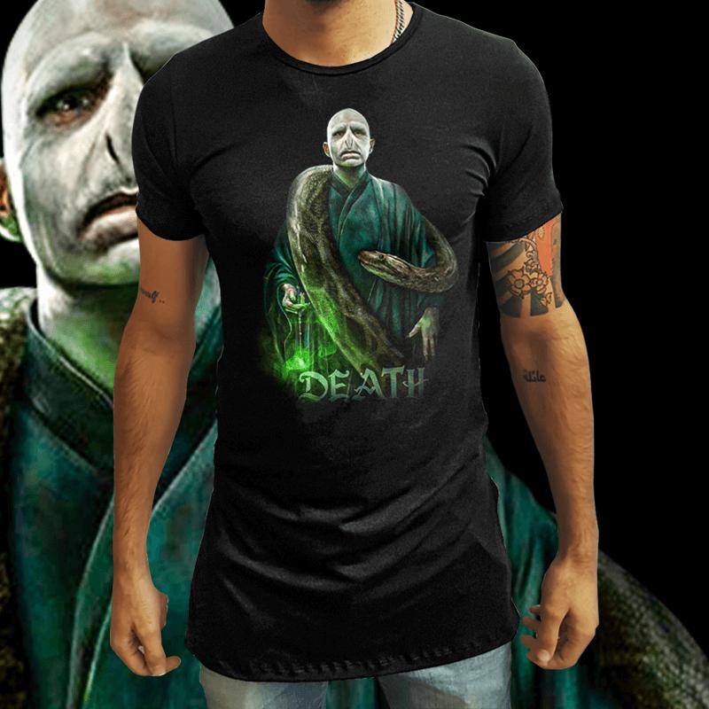 Camiseta Long Line Voldemort & Nagini de Volta a Vida: