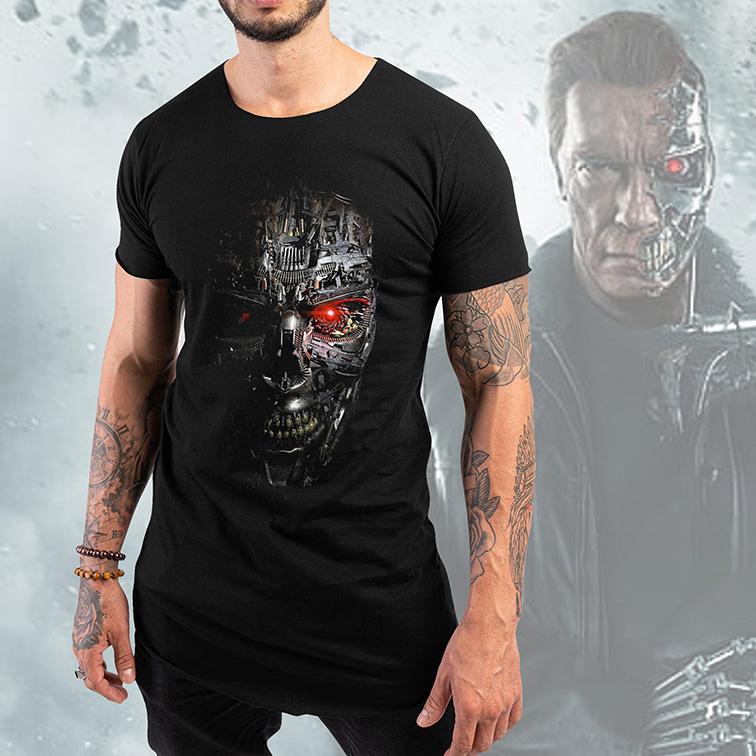 Camiseta Longline The Terminator Genisys Robot: O Exterminador do Futuro Preta Tamanho: P
