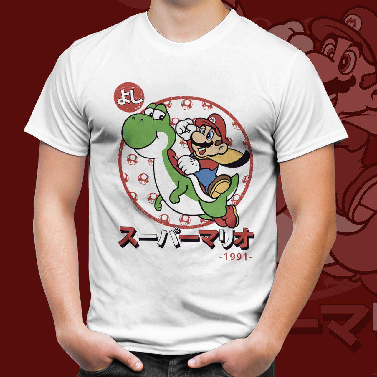Camiseta Unissex Mario e Yoshi: Super Mario Bros