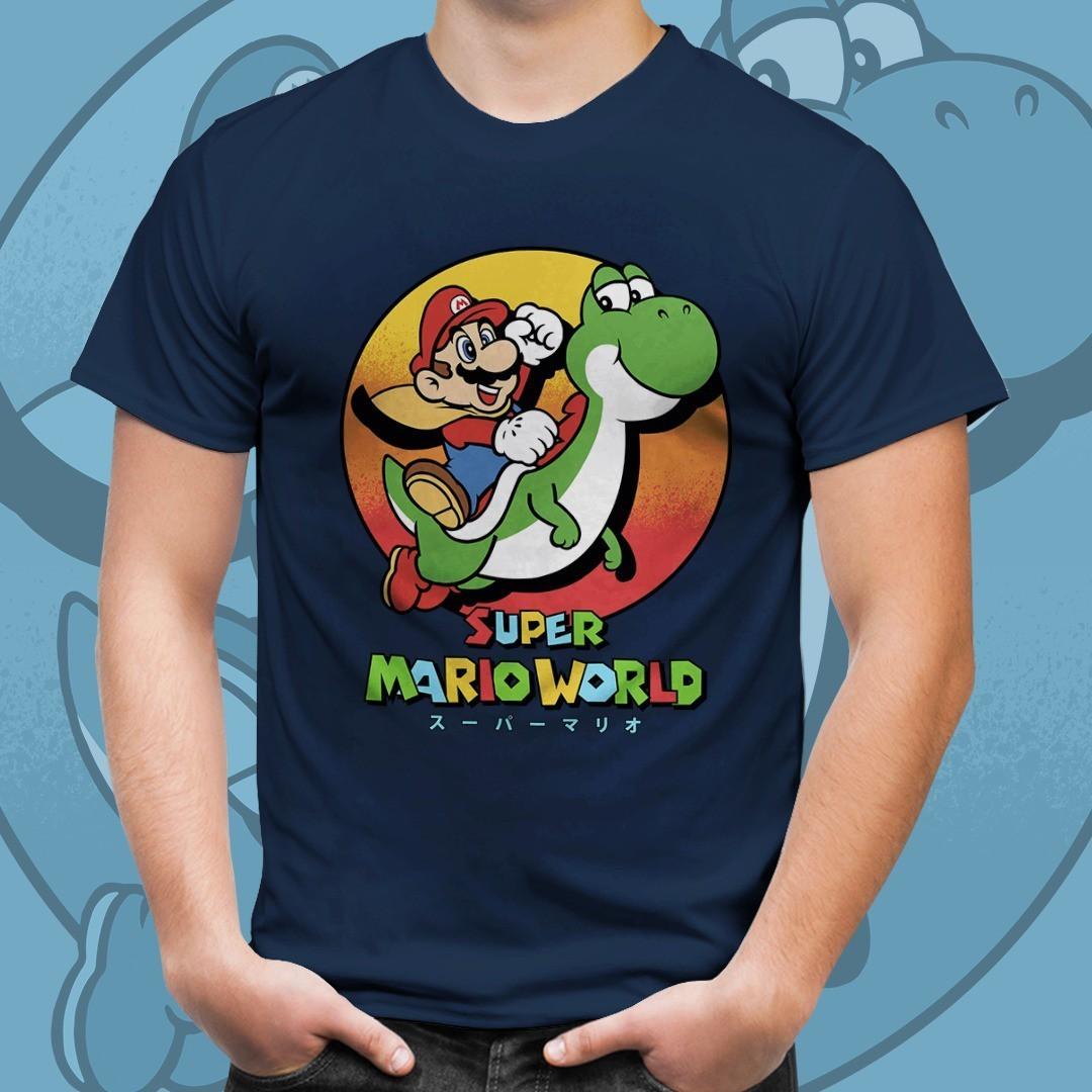 Camiseta Mario E Yoshi: Super Mario Bros (Azul)