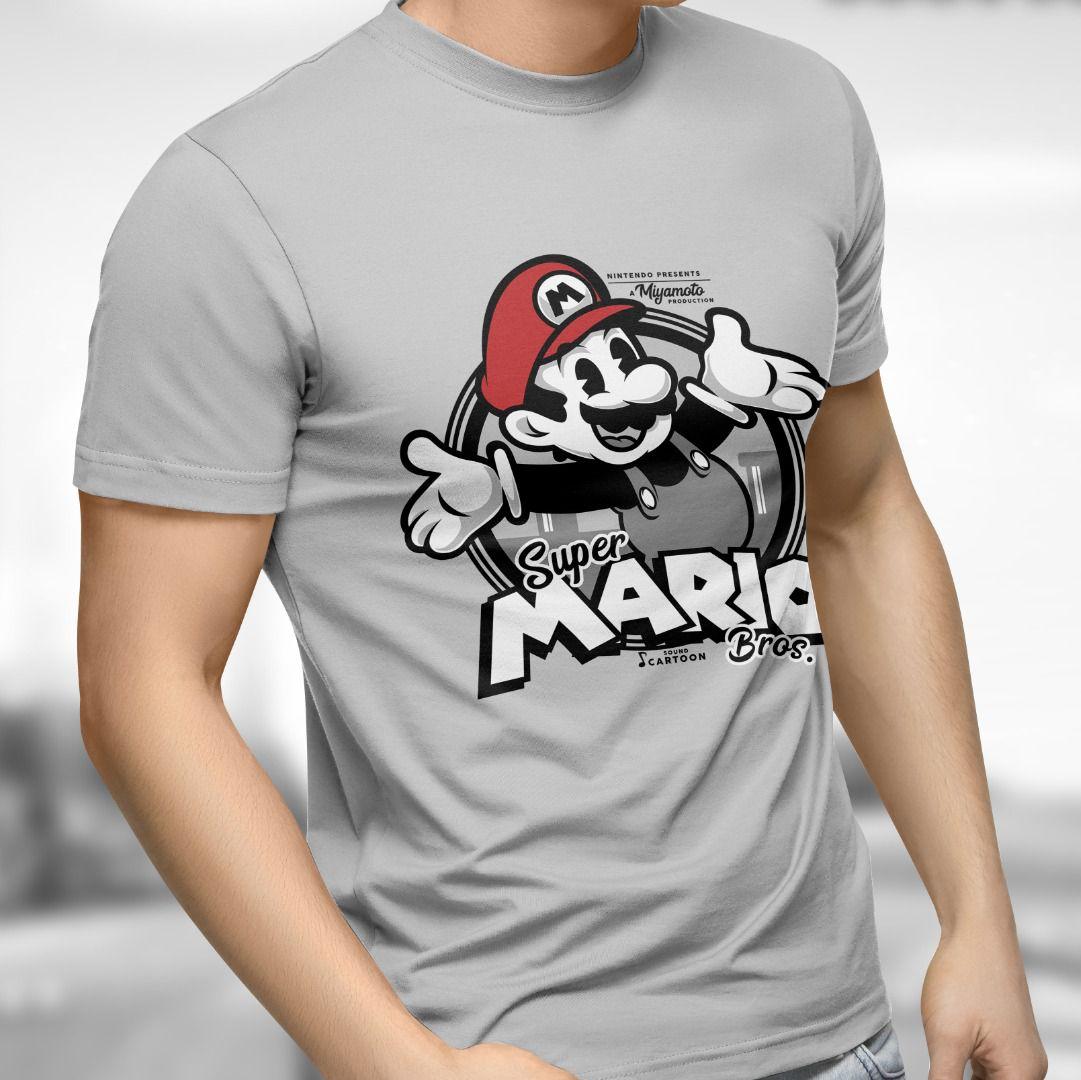 Camiseta Mario: Super Mario Bros. (Cinza)