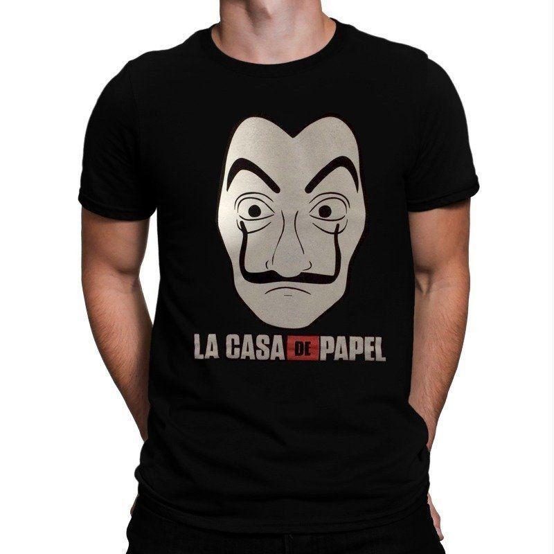 Camiseta Máscara: La Casa de Papel (Preta)