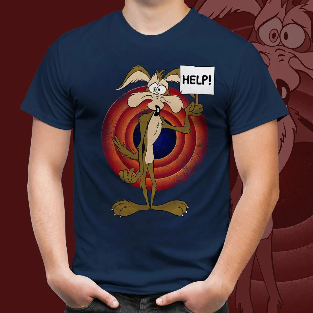 Camiseta Masculina Coiote Ajuda (Azul Marinho)