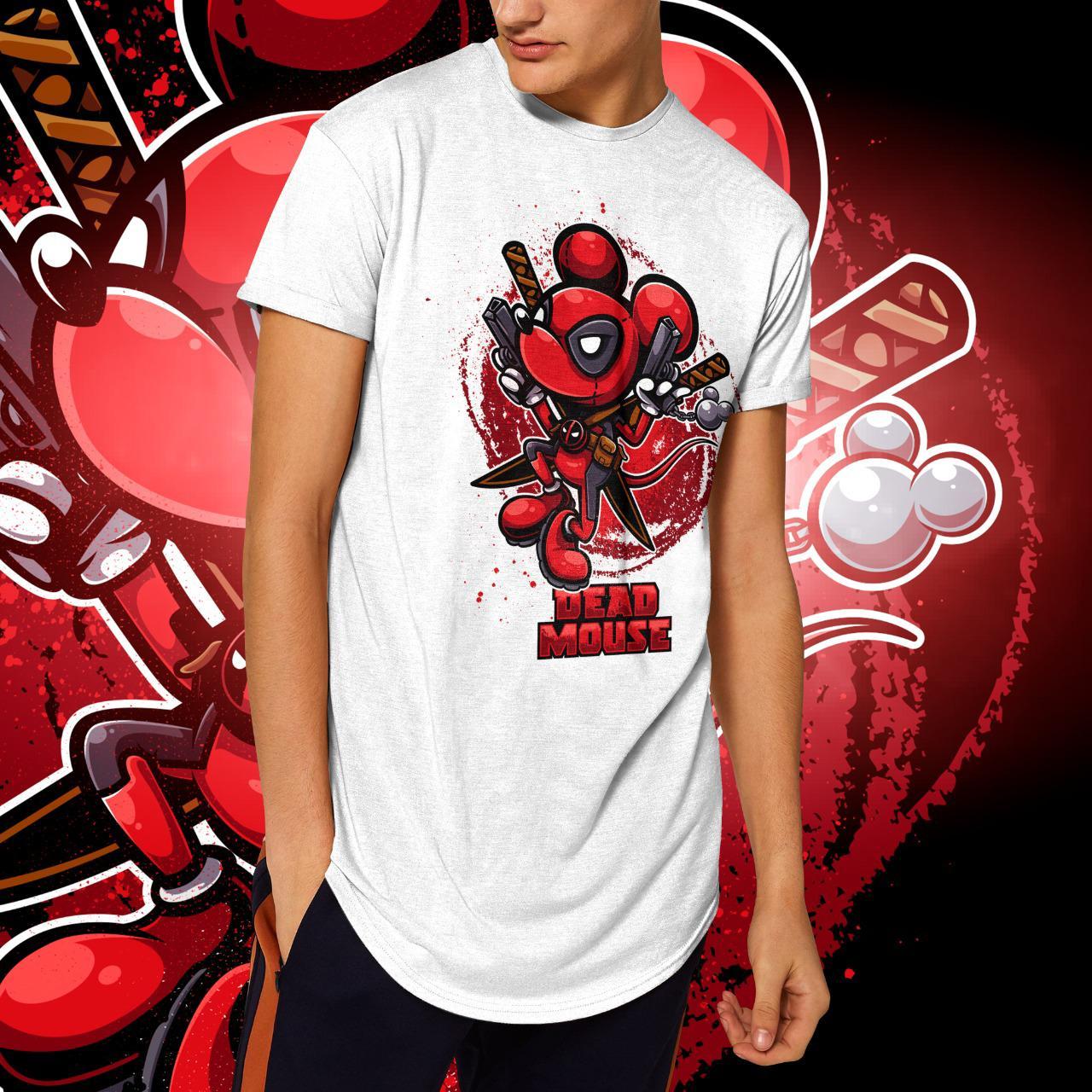 "Camiseta Long Line Masculina ""Dead Mouse"" (Branca)"