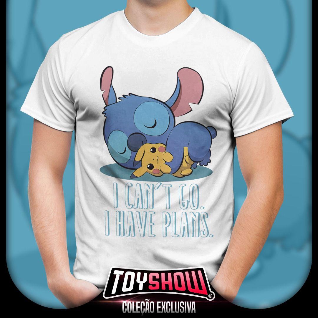 Camiseta Masculina Stitch e Pikachu