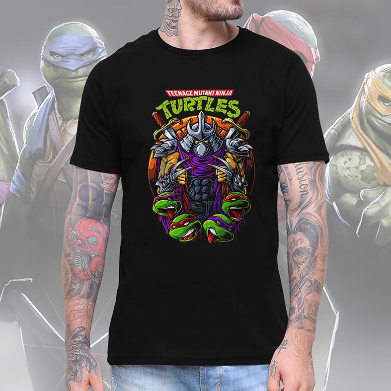 Camiseta Masculina Unissex As Tartarugas Ninjas Destruidor Teenage Mutant Ninja Turtles (Preta) - EV