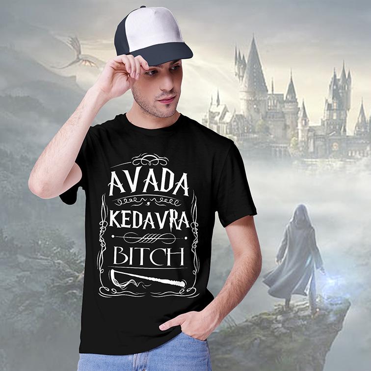Camiseta Masculina Unissex Avada Kedavra Bitch: Harry Potter (Preta) - EV