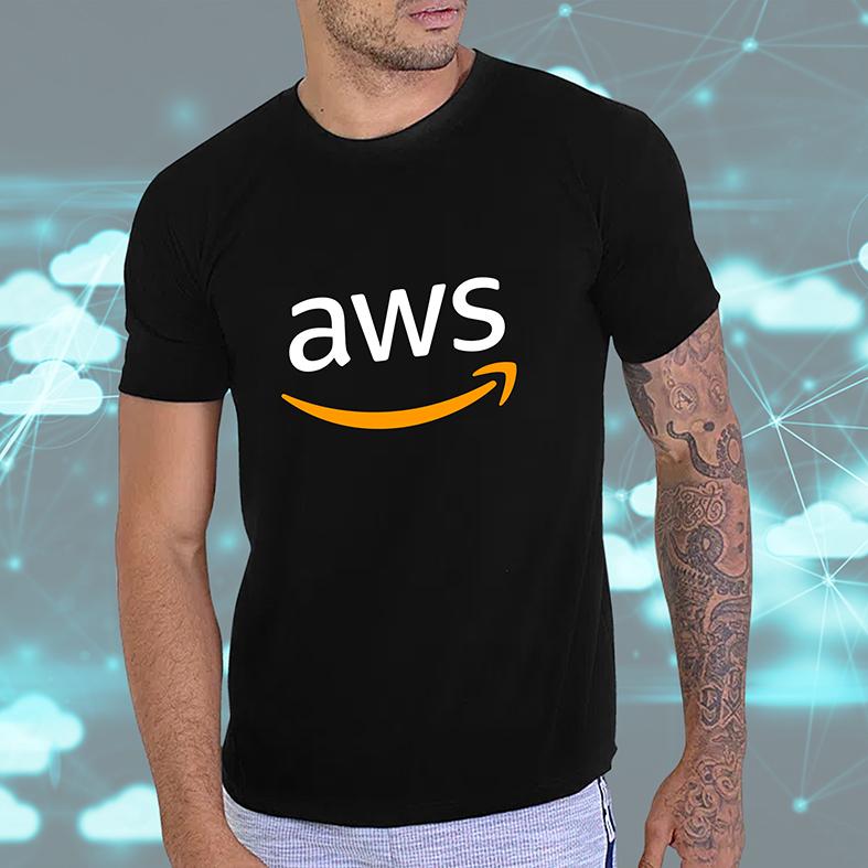 Camiseta Masculina Unissex Aws Amazon Web Services Computação Nuvem Armazenamento (Preta) - EV