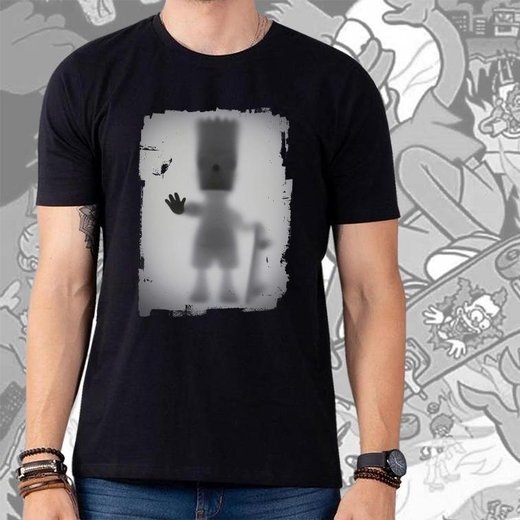 Camiseta Masculina Unissex Bart Simpson Com Skate: Os Simpsons Desaparecimento Raio X Biombo (Preta) - EV