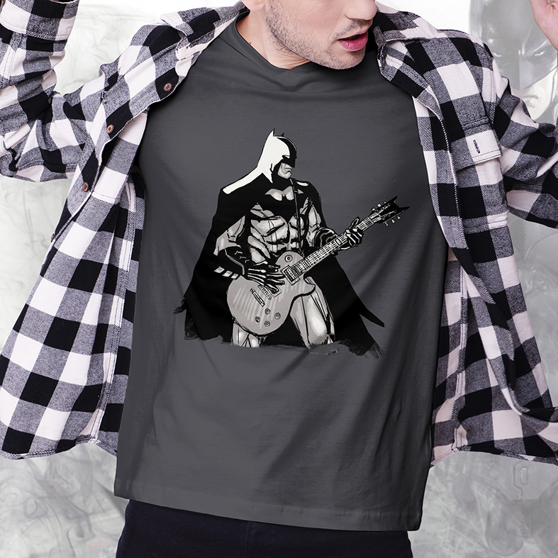 Camiseta Masculina Unissex Batman Rocking Out Rock And Roll (Cinza Chumbo) - EV