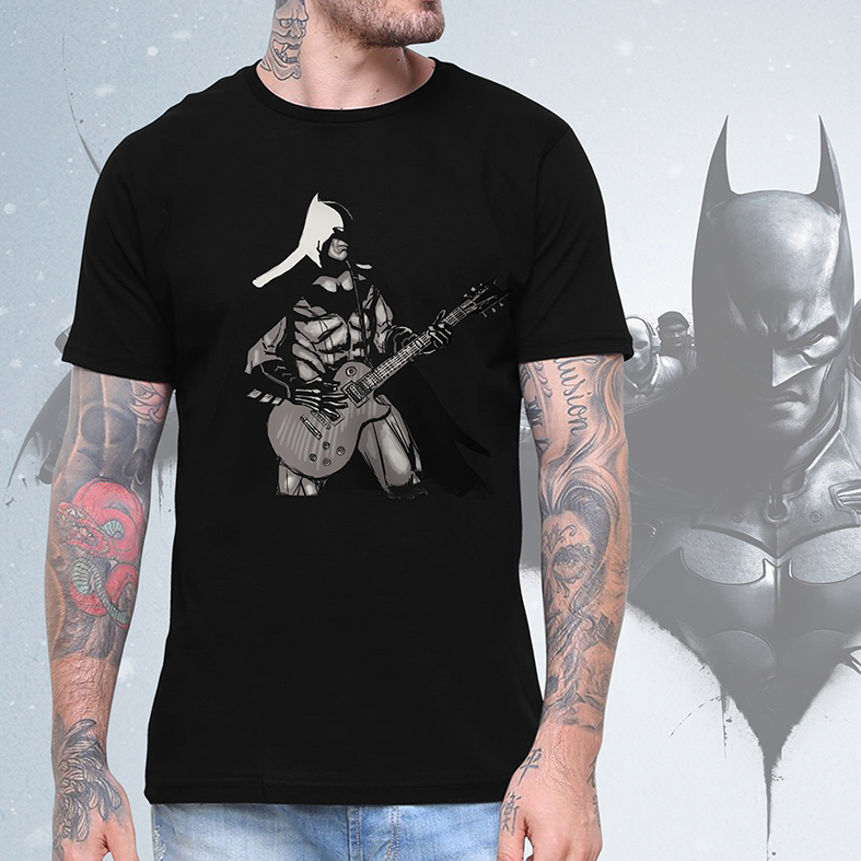 Camiseta Masculina Unissex Batman Rocking Out Rock And Roll (Preta) - EV