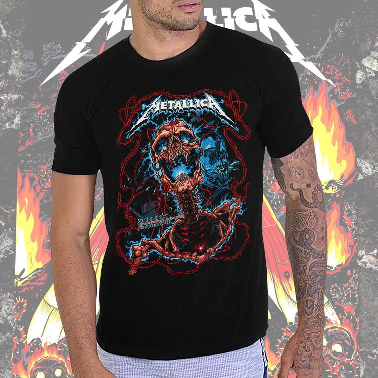 Camiseta Masculina Unissex Birmingham England Genting Arena: Metallica Preta Tamanho: M