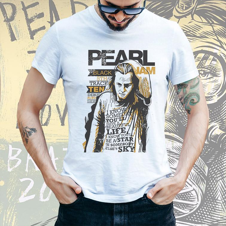 Camiseta Masculina Unissex Black Jam Pearl Jam (Branca) - EV
