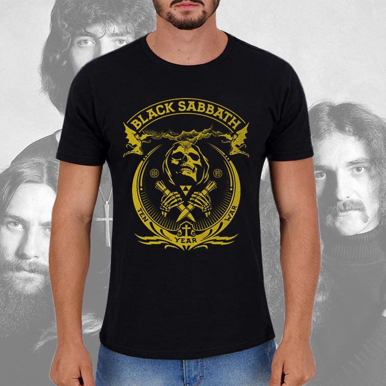 Camiseta Masculina Unissex Black Sabbath Ten Year War Heavy Metal (Preta) - EV