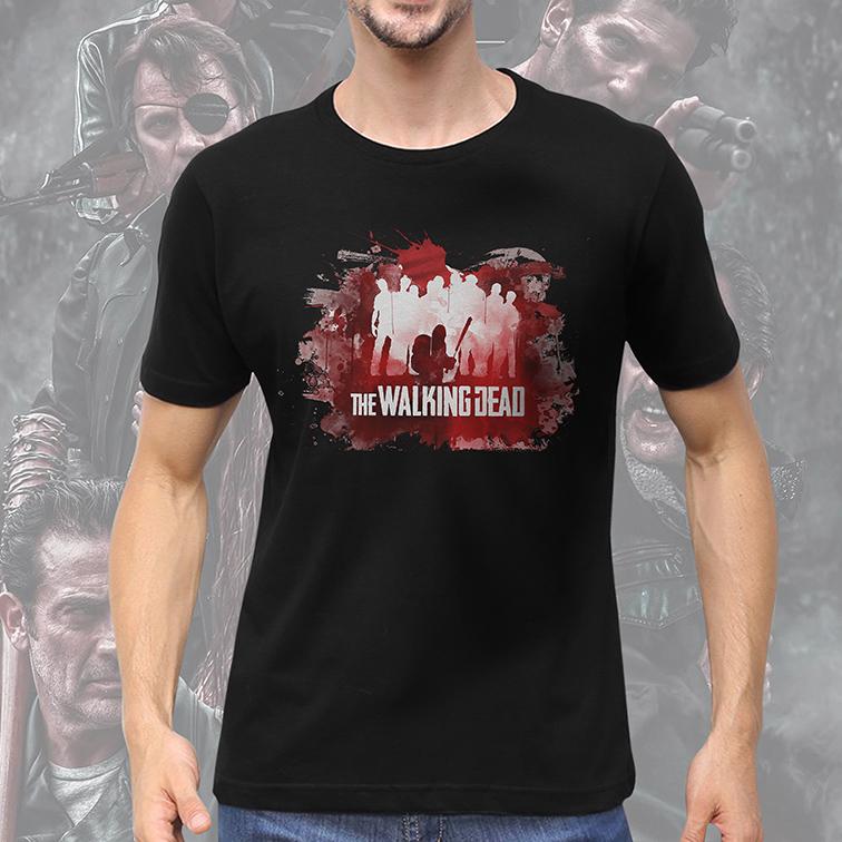 Camiseta Masculina Unissex Blood: The Walking Dead (Preta) - EV