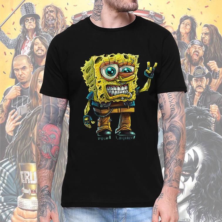 Camiseta Masculina Unissex Bob Esponja Rock And Roll (Preta) - EV