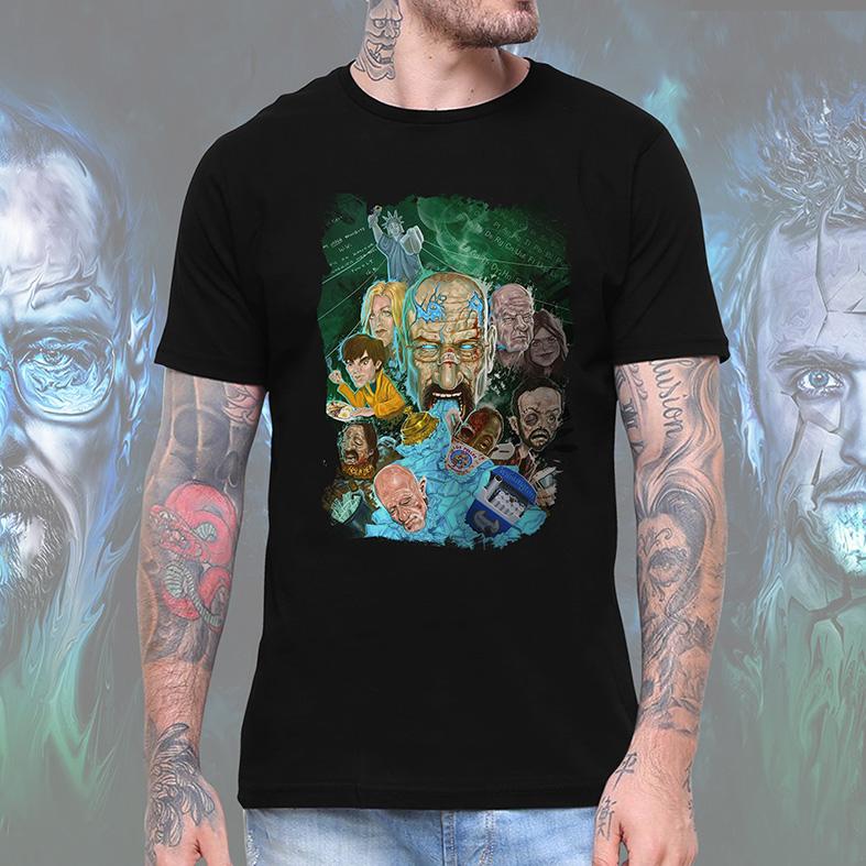 Camiseta Masculina Unissex Breaking Bad Tribute Los Pollos Hermanos Personagens (Preta) - EV