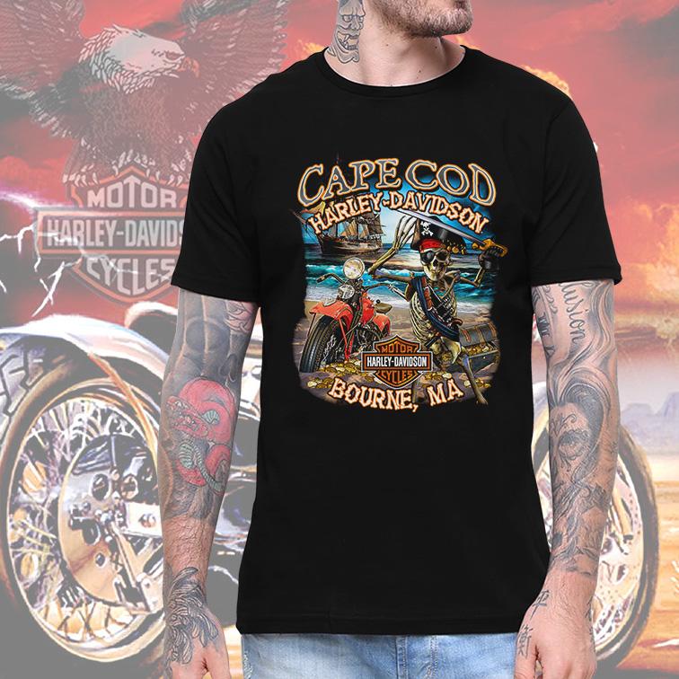 Camiseta Masculina Unissex Cape Cod Harley Davidson Cycles Motorcycle Bourne (Preta) - EV
