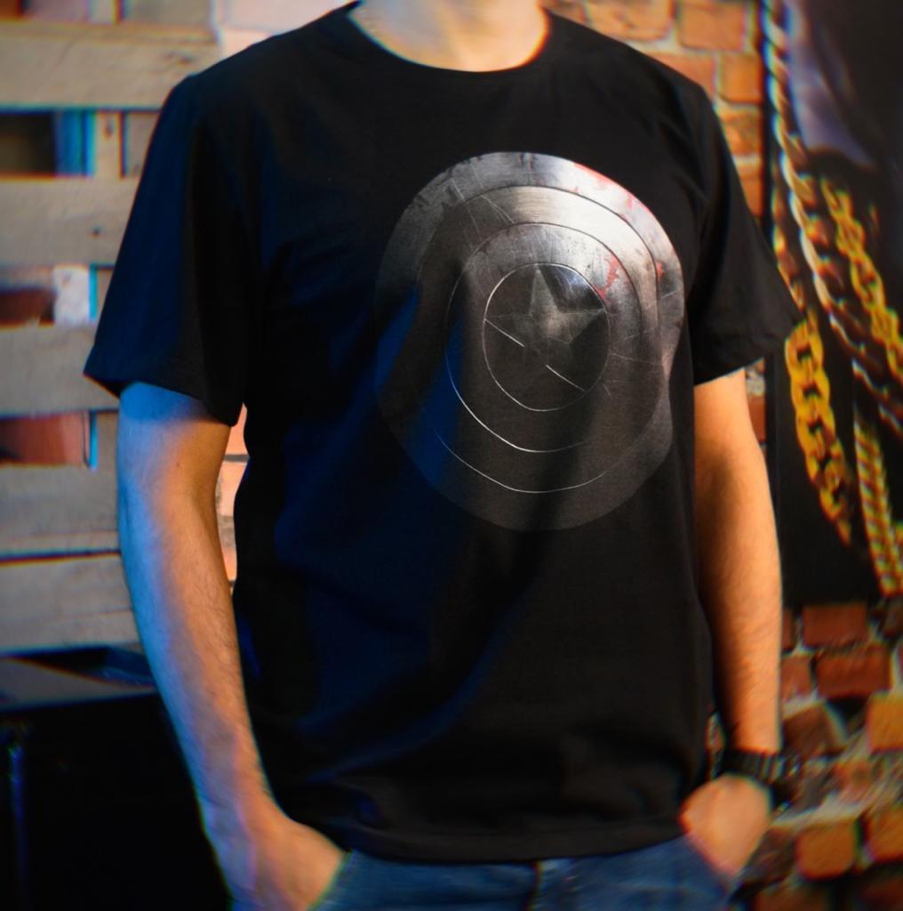 Camiseta Masculina Unissex Captain America Shield Capitão América Escudo Marvel (Preta) - EV
