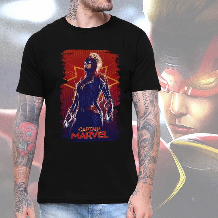 Camiseta Masculina Unissex Captain Marvel Capitã Marvel (Preta) - EV